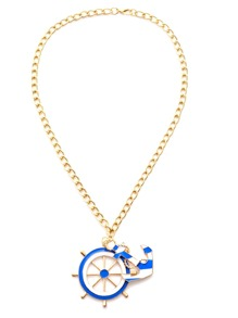 Gold Plated Ship Wheel Anchor Pendant Necklace