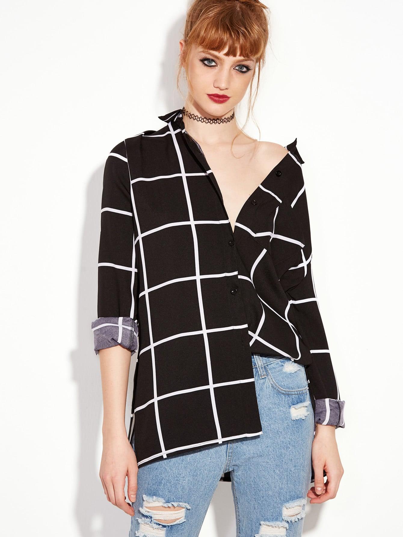 Gingham Pocket Boyfriend Shirt asymmetric gingham pocket shirt