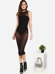 Strapless Bodysuit and Mesh Midi Dress BLACK