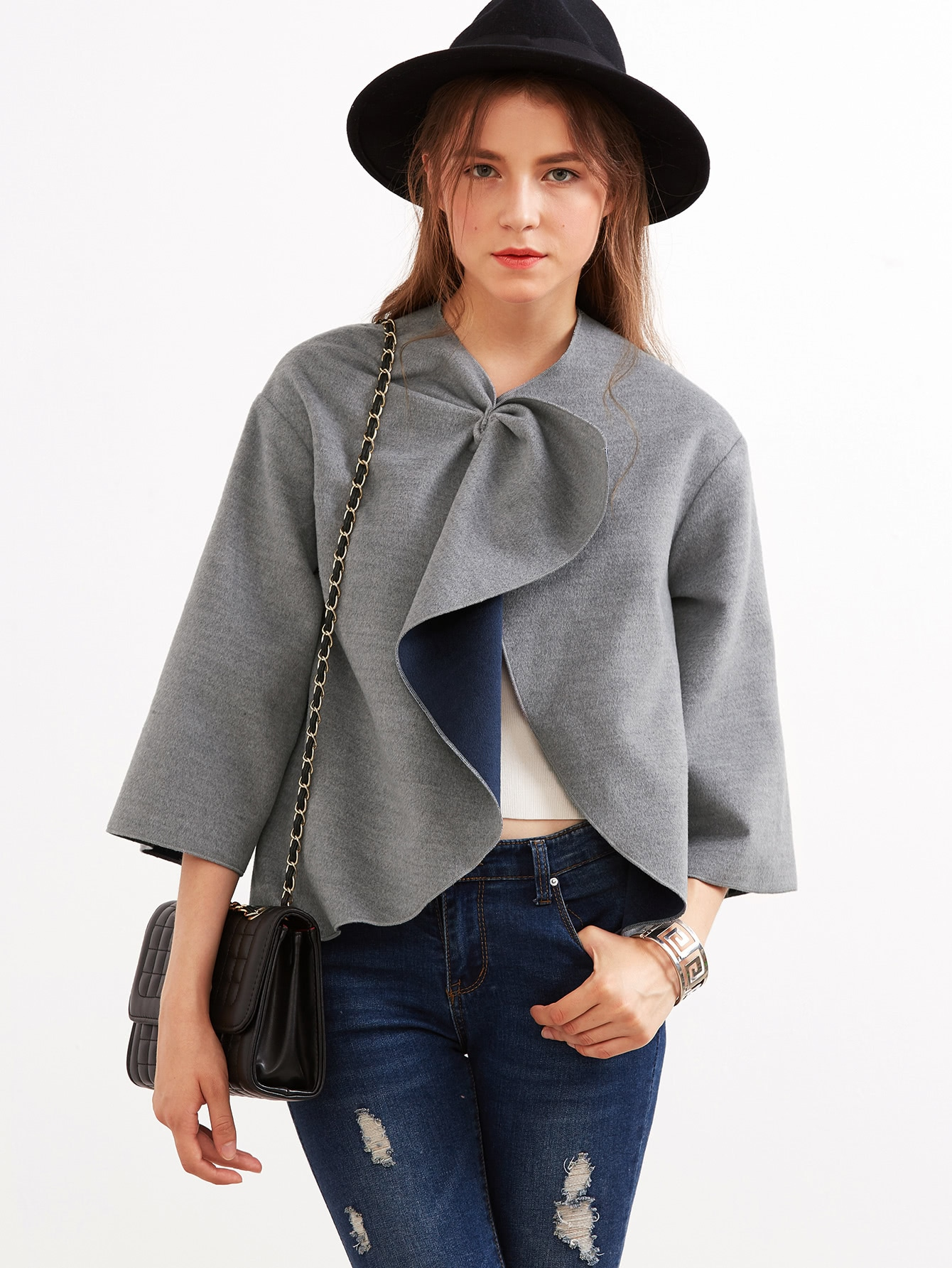 Knotted Collar Kimono Sleeve Double Face Coat