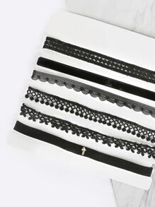 Dainty Cross Choker Set BLACK