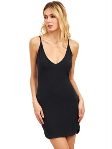 Plunging Neckline Bodycon Cami Dress