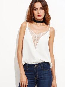 White Floral Lace Trim Plunge Cami Top