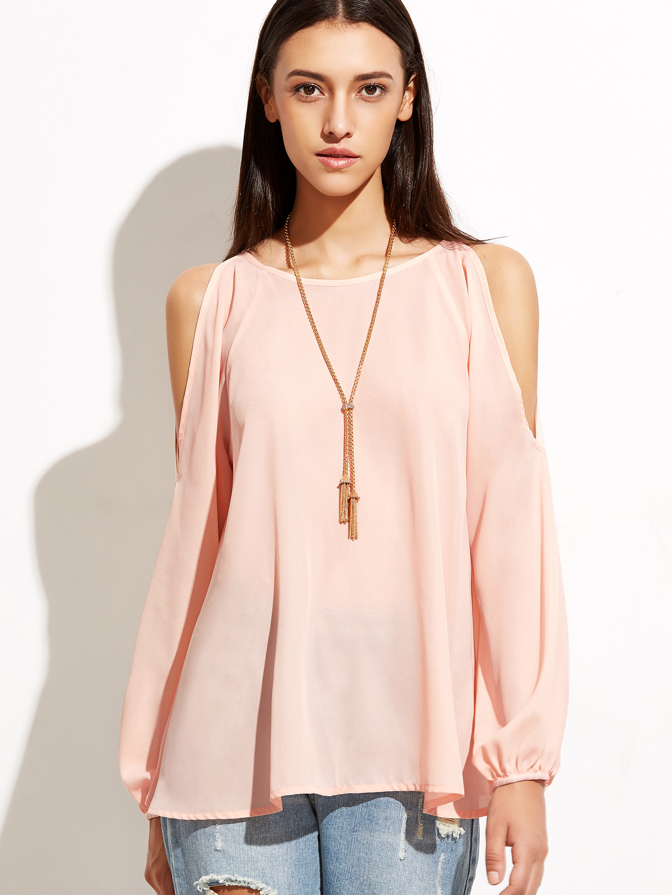 Open Shoulder Raglan Sleeve Top -SheIn(Sheinside