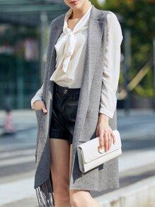 Grey Knit Pockets Tassel Cardigan