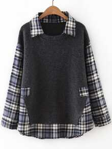 Grey Plaid Drop Shoulder 2 In 1 Sweater