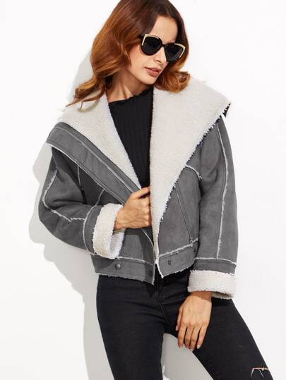 Grey Faux Shearling Asymmetric Zip Aviator Jacket
