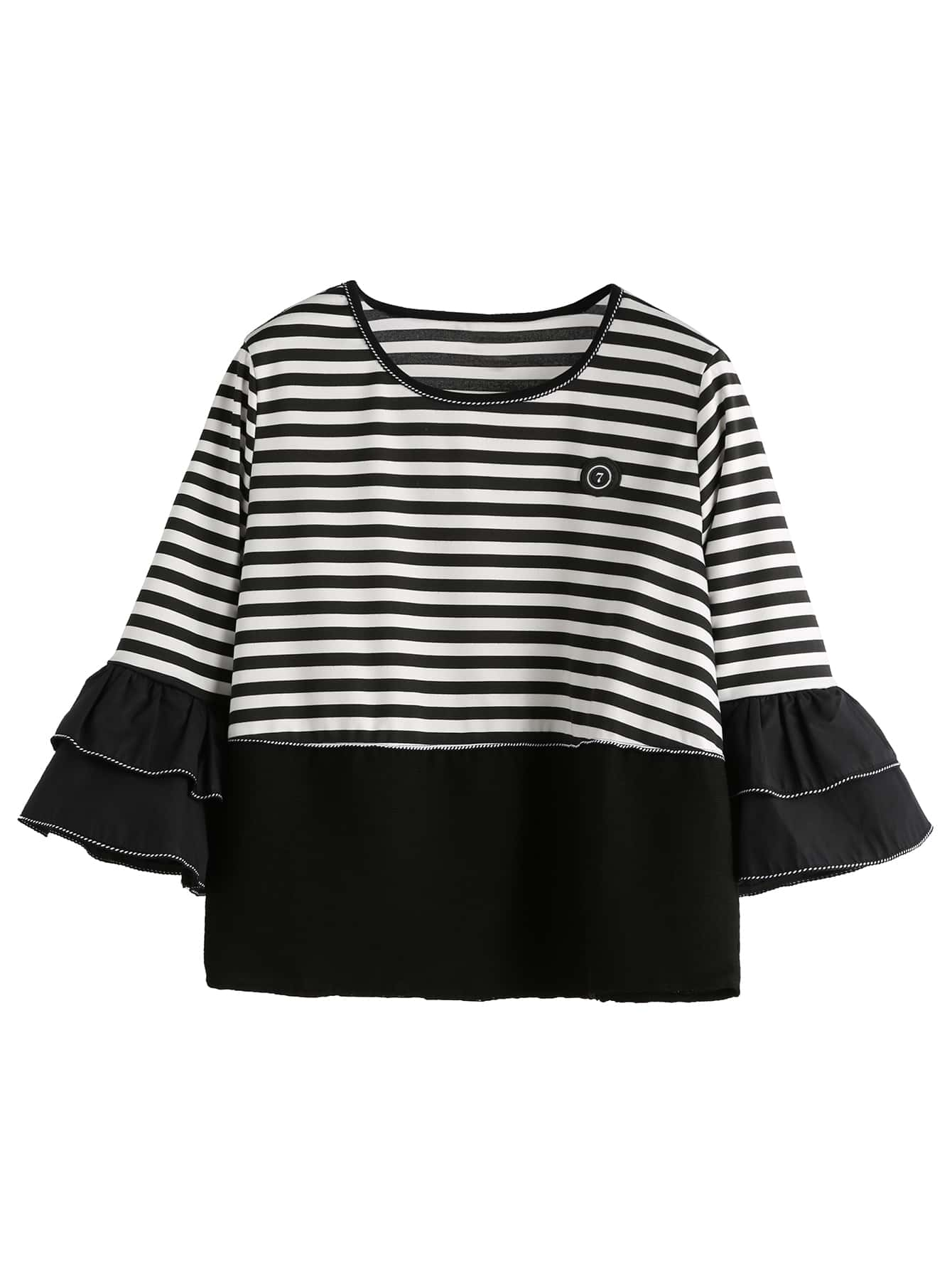 Contrast Striped Ruffle Cuff T-shirtContrast Striped Ruffle Cuff T-shirt<br><br>color: Black and White<br>size: one-size