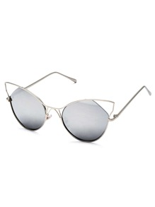 Silver Frame Grey Cat Eye Sunglasses