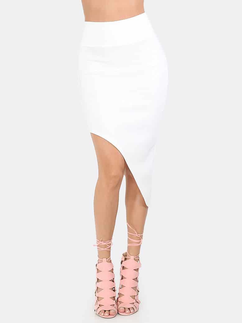 Image of Asymmetrical Curved Hem Skirt