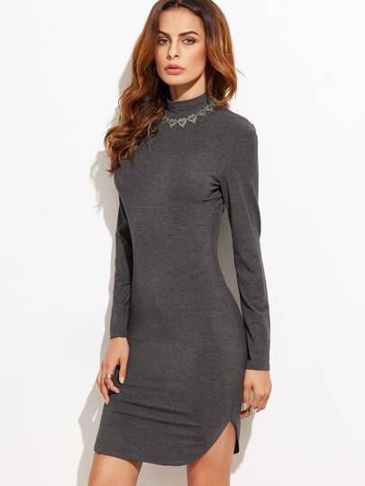 Mock Neck Curved Hem Bodycon Dress