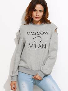 Heather Grey Letter Print Cutout Shoulder Sweatshirt