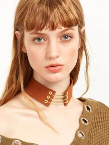 Brown Metal Chain Wide Choker Necklace