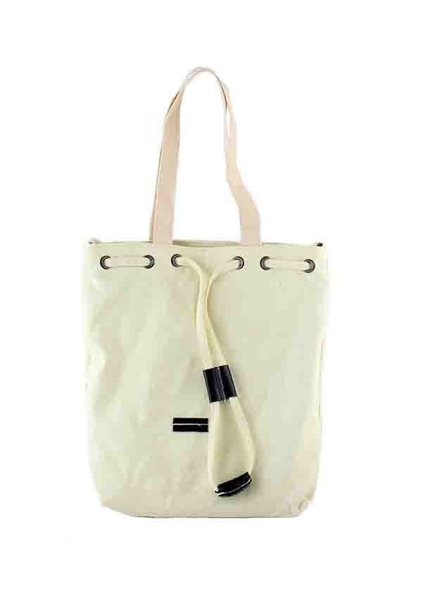 Beige New Casual Big Canvas Shoulder Bag For Women Image