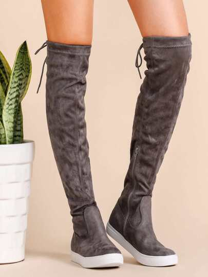 Grey Round Toe Tie Back Over The Knee Boots