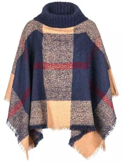 Multicolor Plaid Turtleneck Fringe Poncho Sweater