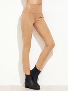 Khaki Suede Elastic Waist Skinny Pants