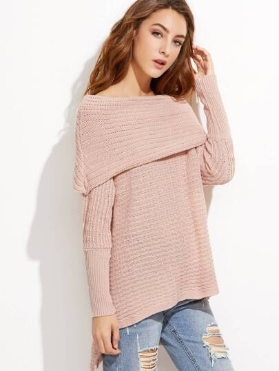 Pink Off The Shoulder High Low Foldover Sweater -SheIn(Sheinside)