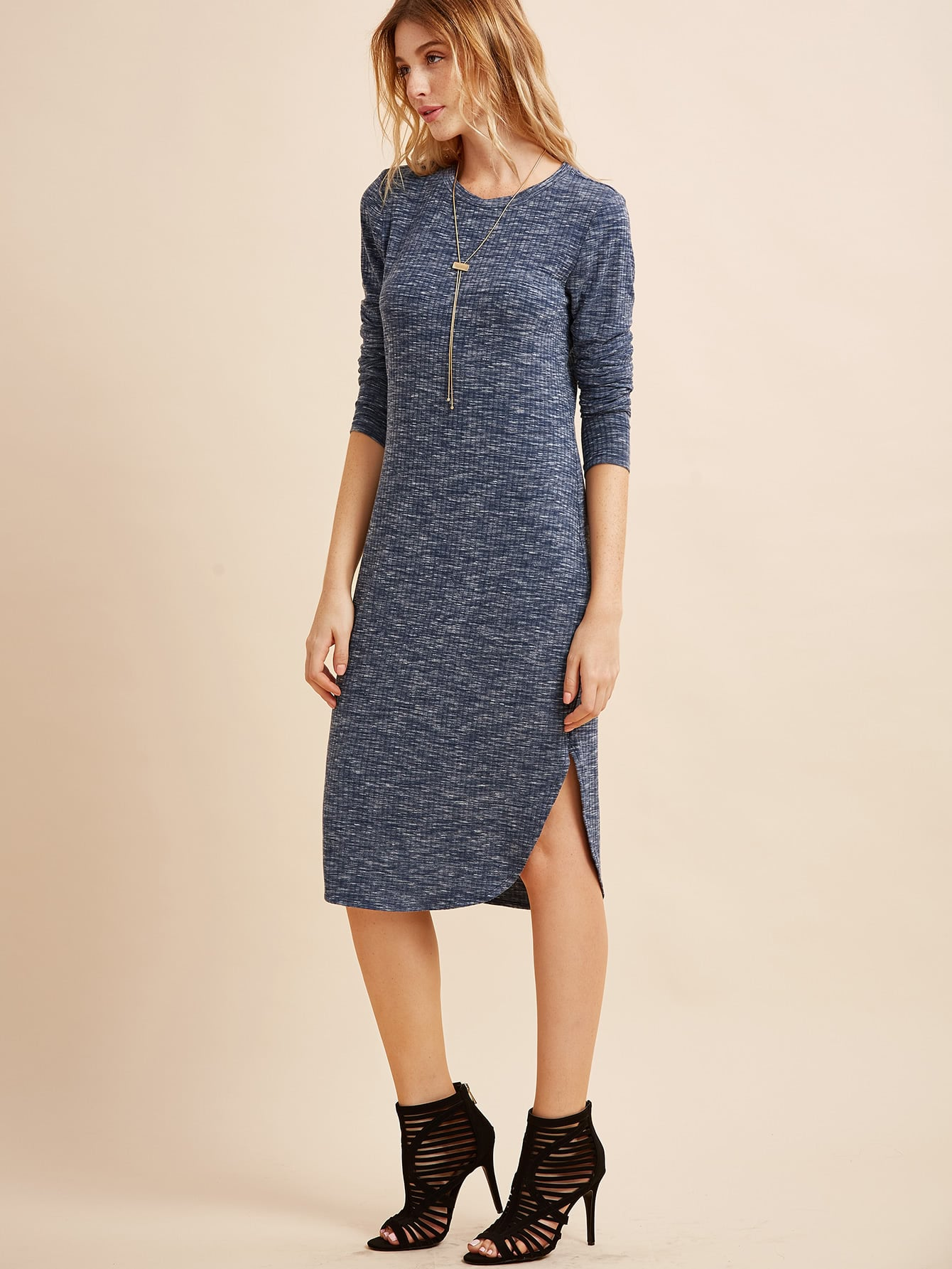 Navy Marled Knit Curved Hem Ribbed Dress dress160927706
