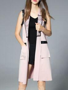 Pink Print Pockets Contrast Pu Vest