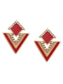 Red Rhinestone Geometric Hollow Out Stud Earrings