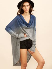 Ombre Cowl Neck Dolman Sleeve Sweater