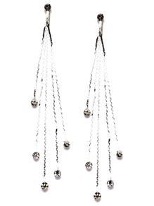 Silver Plated Rhinestone Tassel Drop Earrings
