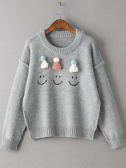 Grey Hat Embellished Drop Shoulder Cute Sweater