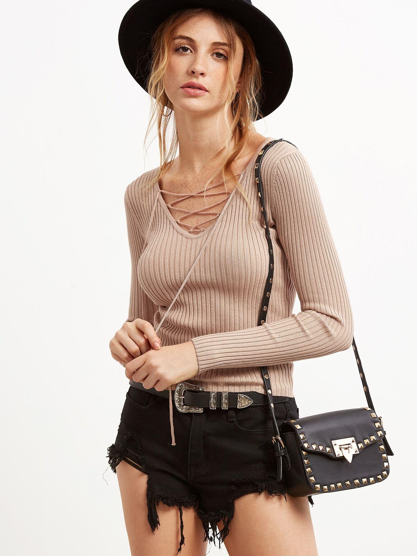 Khaki Lace Up V Neck Ribbed Slim Fit Sweater sweater160928403