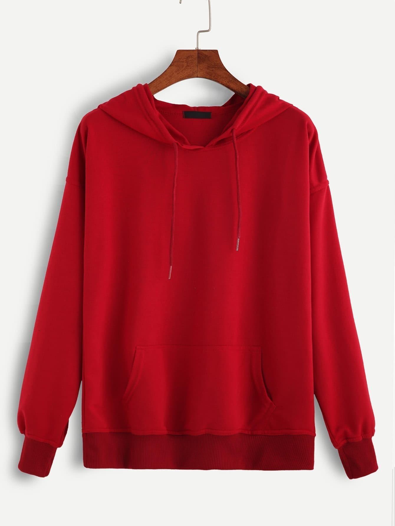 Red Hooded Drawstring Sweatshirt sweatshirt160930102