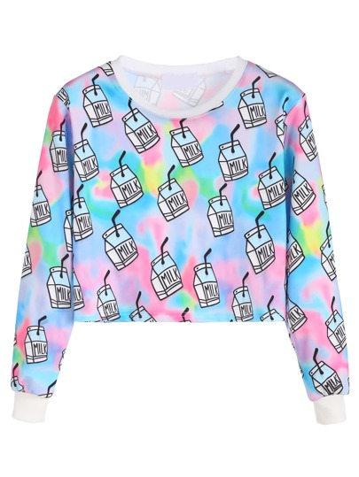Multicolor Milk Box Print Crop Sweatshirt