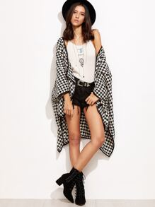 Contrast Trim Houndstooth High Low Cape Coat