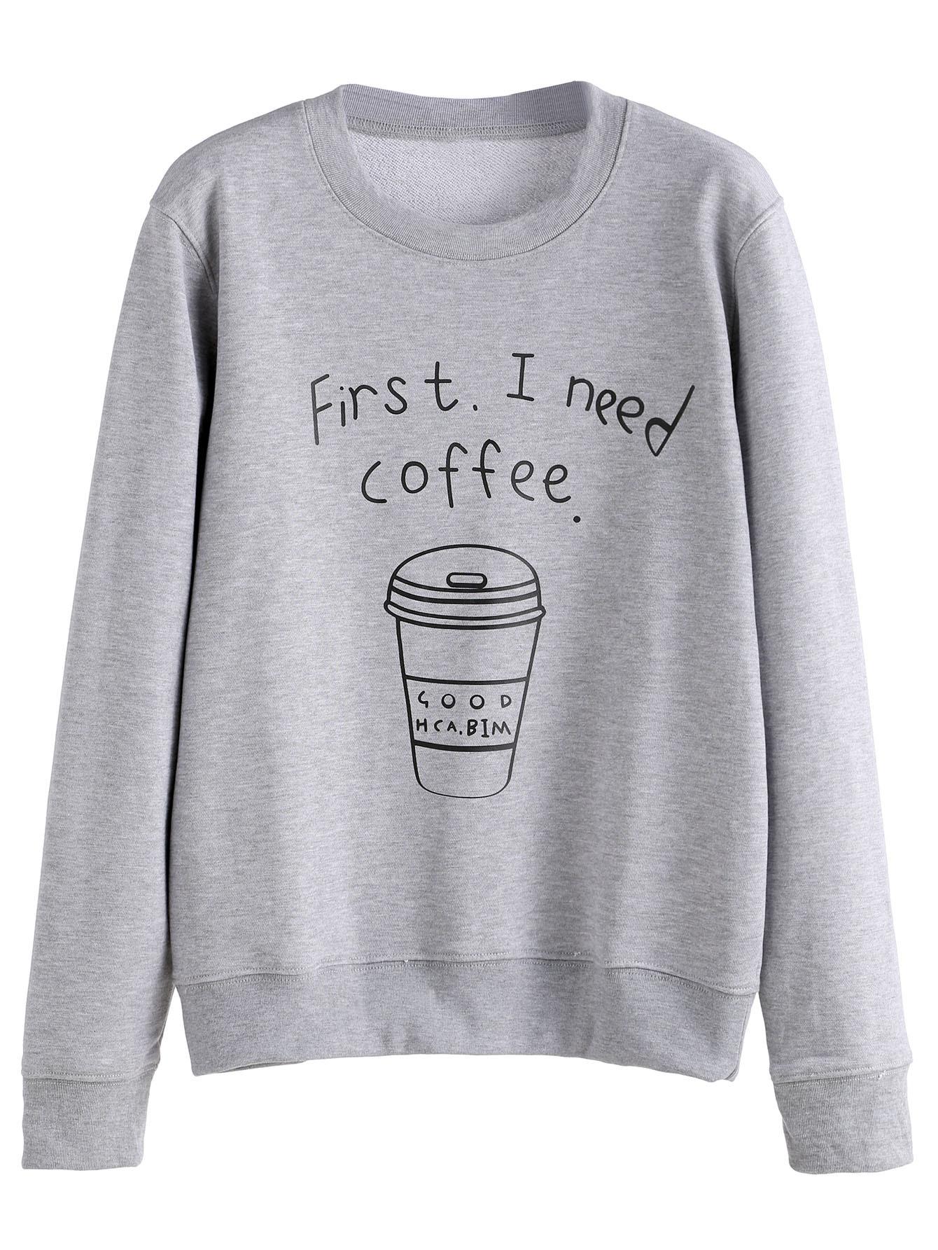 Grey Coffee Cup Letters Print SweatshirtGrey Coffee Cup Letters Print Sweatshirt<br><br>color: Grey<br>size: L,M,S,XL,XXL