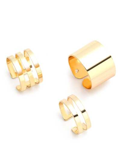 3PCS Gold Plated Hollow Out Ring Set