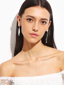 Feather Metal Ball Faux Pearl Asymmetrical Earrings