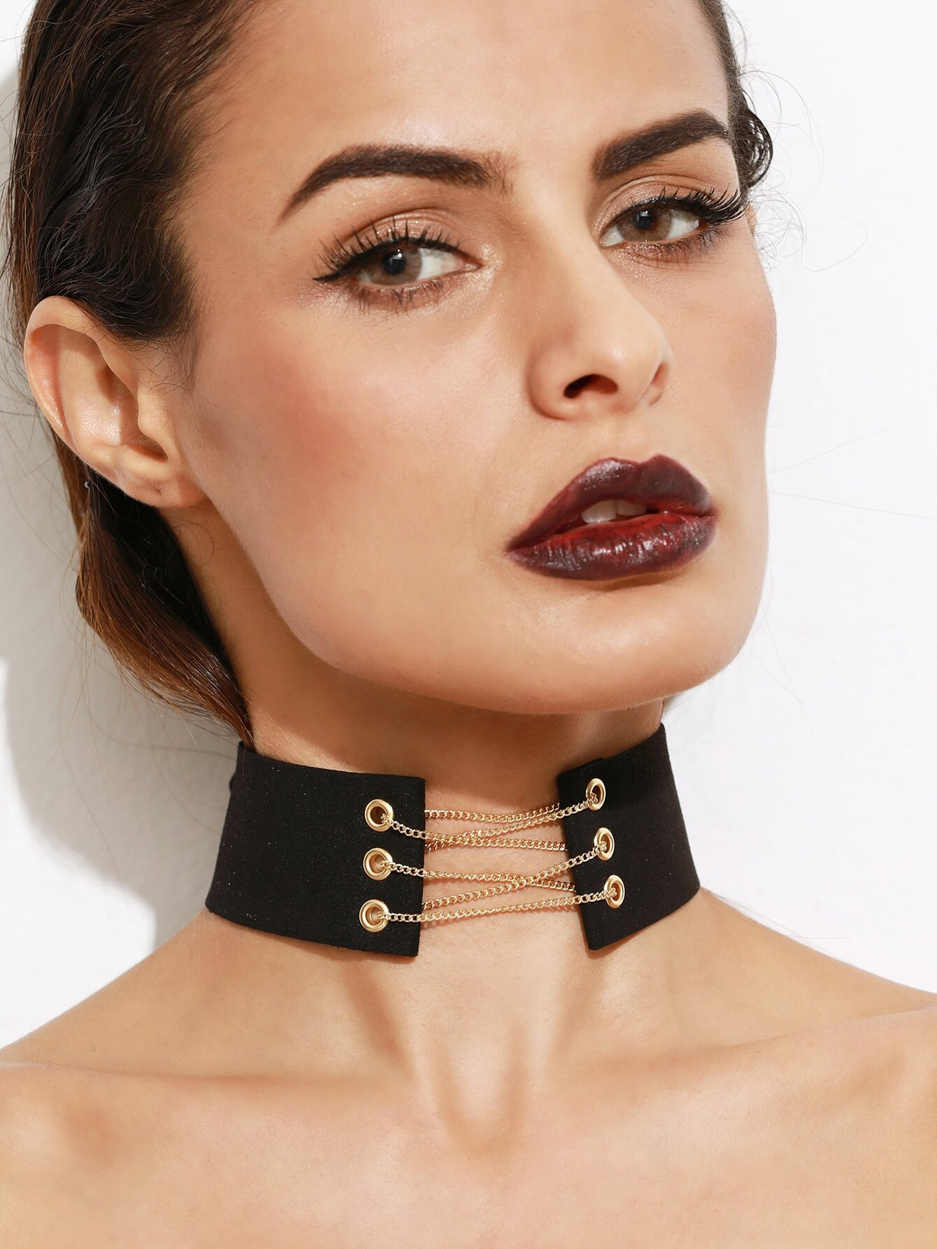 Metal Chain Tie Back Wide Choker Necklace fashion white hollow out lace metal chain choker necklace