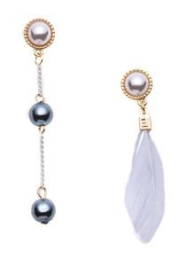 Grey Feather Metal Ball Faux Pearl Asymmetrical Earrings