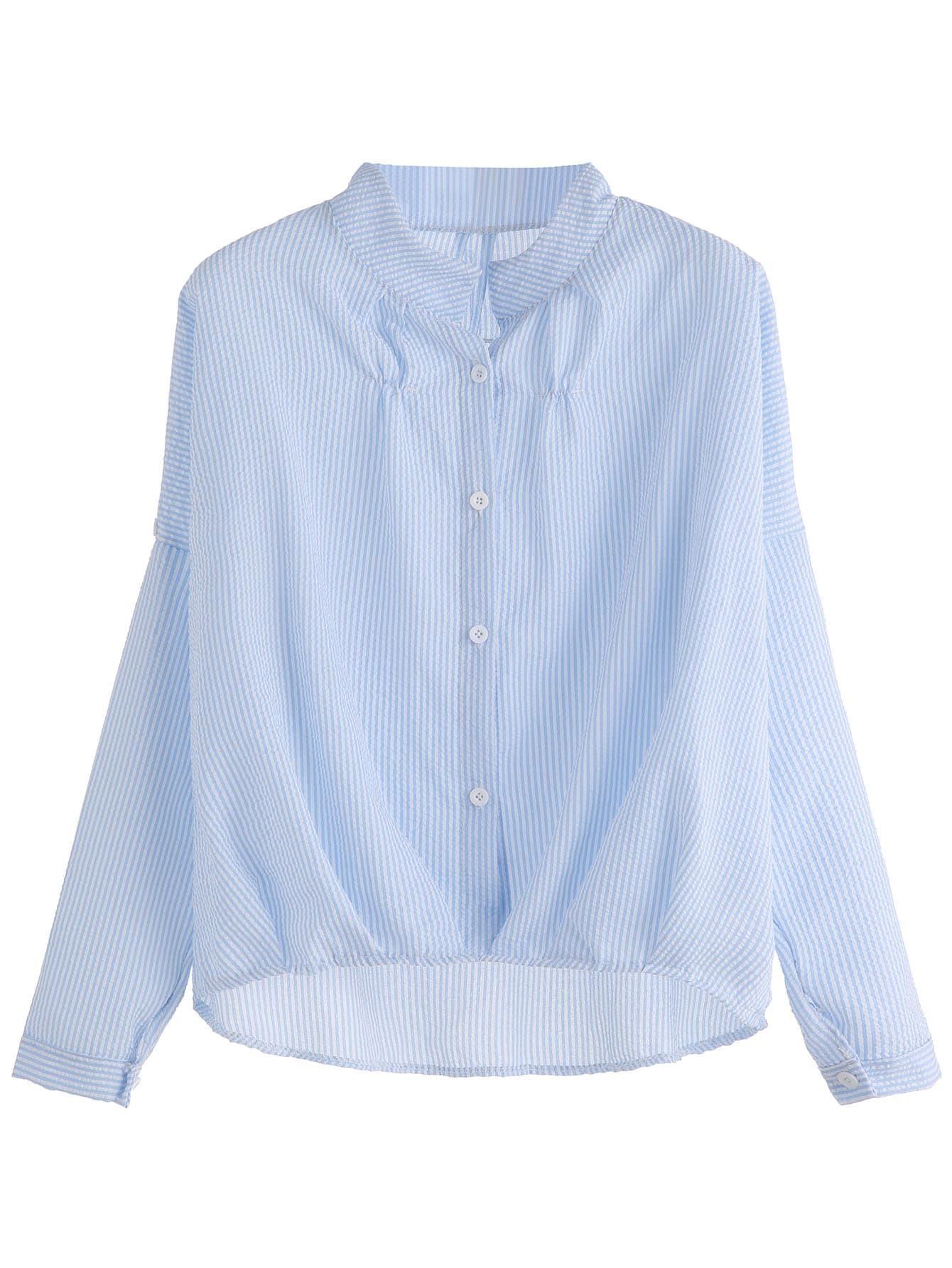 shirt vertical gestreift vorne kurz hinten lang blau. Black Bedroom Furniture Sets. Home Design Ideas