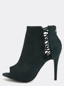 Peep Toe Lace Up Ankle Boots GREEN
