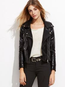 Black Studded PU Jacket With Oblique Zipper