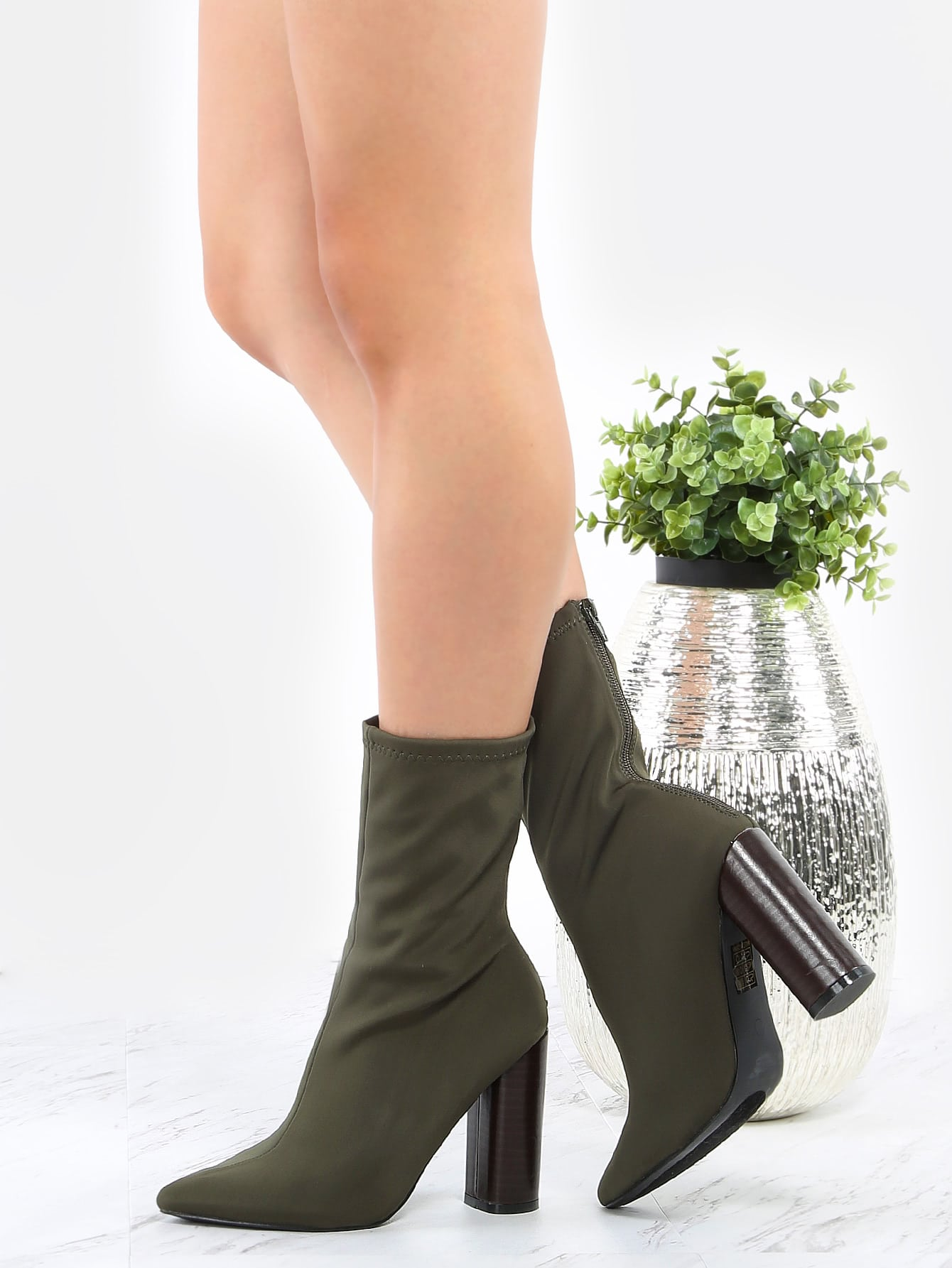 Pointed Toe High Shaft Ankle Boots OLIVE