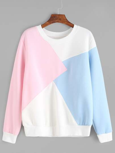 Color Block Ribbed Trim Sweatshirt