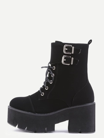 Black Nubuck PU Cap Toe Lace Up Buckle Strap Platform Short Boots
