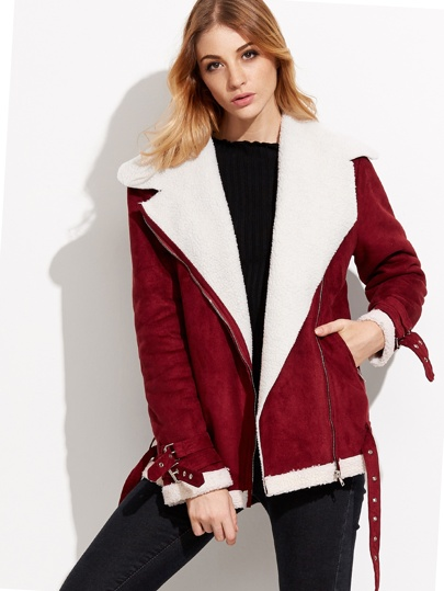 Burgundy Faux Shearling Asymmetric Zip Jacket With Buckle Detail