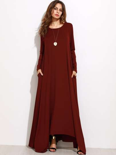 Shift Kleid langarm-burgund rot