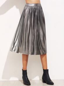 Metallic Silver Tea Length Accordion Skirt