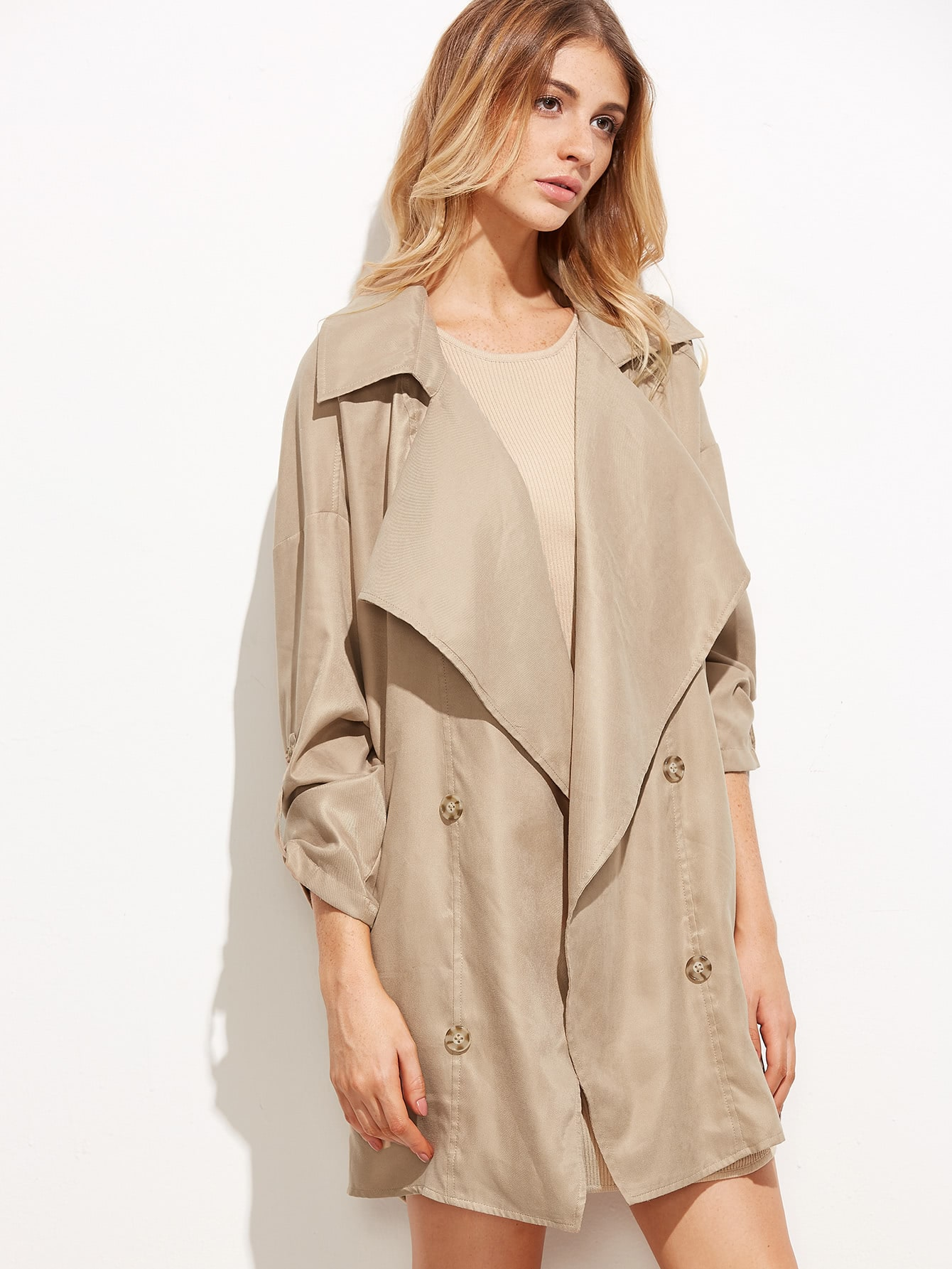 Khaki Notch Collar Trench Coat