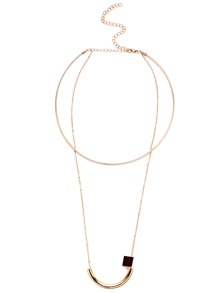 Gold Plated Geometric Pendant Choker Necklace