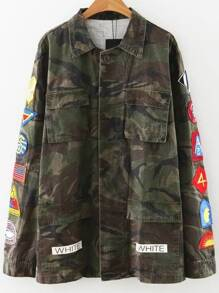 Army Green Patch Detail Camouflage Coat With Pockets