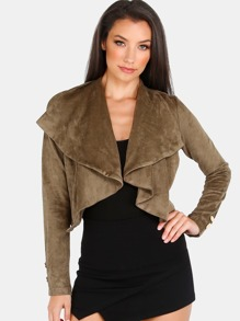 Suede Crepe Lapel Cropped Jacket OLIVE